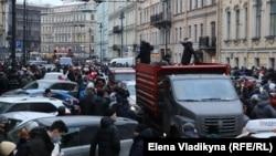 Alekseý Nawalnynyň tussag edilmegine garşy protest aksiýasy, ,St. Peterburg, 24-nji ýanwar, 2021