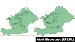Ош облусундагы шайлоо округдарынын алгачкы жана кийинки варианттары