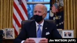 Президент США Джо Байден в Белом доме. 20 января 2021 года.