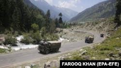 Indian army trucks move along a highway leading to Ladakh in India-administered Kashmir. (file photo)