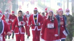 Santa Claus On The Streets Of Kosovo