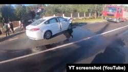 Accidentul ministrului Bode surprins de camera unui motociclist