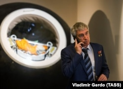 Sergei Krikalyov attends an exhibition at the Museum of Cosmonautics in April.