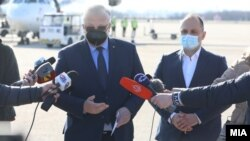 Министерот за здравство Венко Филипче и амбасадорот на Руската Федерација во земјава Сергеј Баздникин.