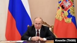 RUSSIA -- Russian President Vladimir Putin attends a meeting with heads of religious confessions on the National Unity Day, via a video conference call in Moscow, November 4, 2020