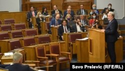Meni se čini da neke partije stvarno žele izbore - poručio je crnogorski premijer Zdravko Krivokapić (na fotografiji: Krivokapić na sjednici Skupštine Crne Gore, 24. jun 2021.)