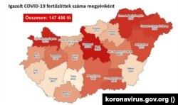 Az igazolt COVID-fertőzöttek száma megyei bontásban Magyarországon 2020. november 16-án.