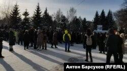 Акция в поддержку Навального на площади Ленина 31 января