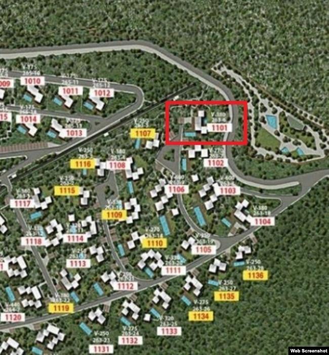 Фрагмент плана застройки курорта Six Senses Kaplankaya c номерами вилл