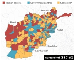 Controlul talibanilor - cu roșu, Controlul guvernamental - cu albastru, Zone contestate - cu galben.