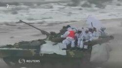 Ukrayna Rusiya sərhədi yaxınlığında hərbi təlim keçirir