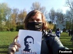 Федор Ципилев на акции в поддержку Навального в Нидерландах