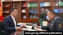 Встреча Садыра Жапарова с министром внутернних дел Уланом Ниязбековым. 19 октября 2020 года.