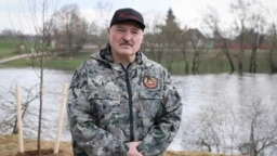 BELARUS -- Belarusian President Alyaksandr Lukashenka talks with the media during a subbotnik, a Soviet-style Clean-up Day, in the village of Aleksandria, April 17, 2021