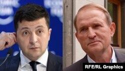 Володимир Зеленський(л) і Віктор Медведчук (п)