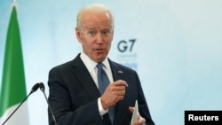 U.S. President Joe Biden speaks to reporters at the end of the G7 summit in Cornwall on Britain's southwestern coast on June 13.