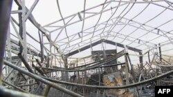 تصویر مربوط به حمله راکتی به منطقه نظامی فرودگاه اربیل در ماه فوریه سال ۲۰۲۱