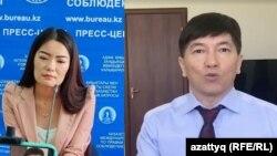 Белсенді Аружан Дүйсебаева және әнші Сәкен Майғазиев.