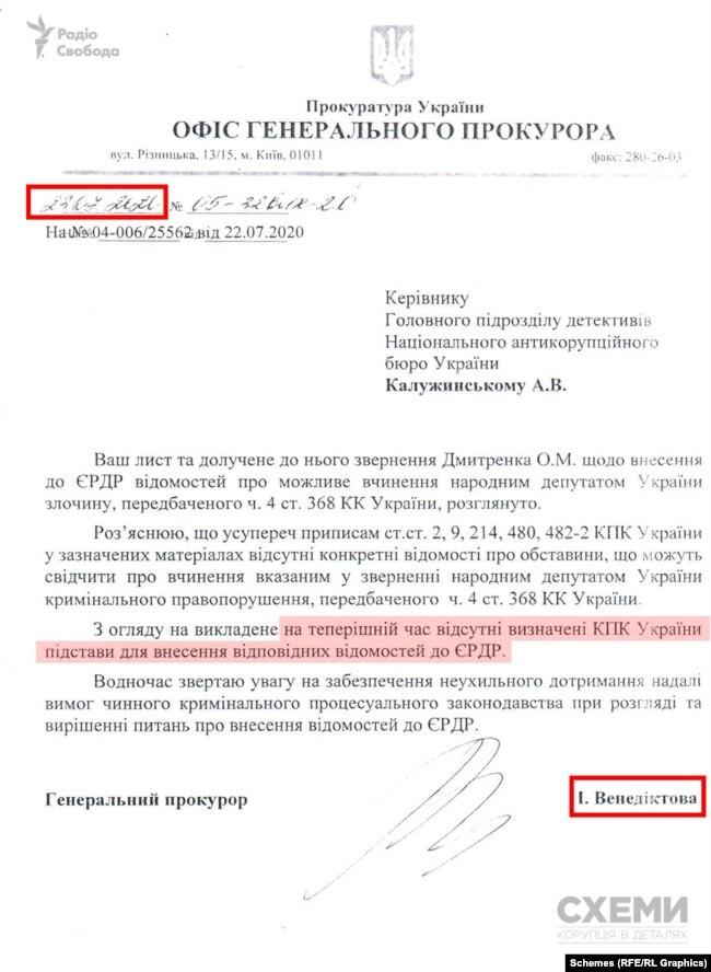 Документ, наданий Олегом Дмитренком