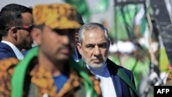 Iranian Ambassador Hassan Irlu attends a ceremony in the Yemeni capital, Sanaa, on October 29.