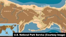 A U.S. National Park Service map of Beringia shows the expanse of a wide plain connecting the continents. It is at the center of the Bering Land Bridge Theory of human migration into North America, which was uninhabited until long after all continents except Antarctica hosted humans.