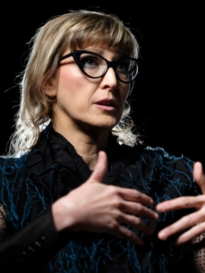 BOSNIA-HERZEGOVINA -- Bosnian filmmaker Jasmila Zbanic speaks and gestures during an interview with the Associated Press in the capital Sarajevo, January 30, 2021