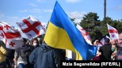 Акция сторонников Михаила Саакашвили у Руставской тюрьмы