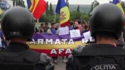 Protest anti-Rogozin la aeroportul internațional Chișinău