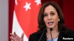 U.S. Vice President Kamala Harris speaks at a news conference in Singapore on August 23.