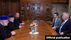 Armenia - Catholicos Garegin II meets with Hungarian Deputy Prime Minister Zsolt Semjen in Echmiadzin, June 25, 2021.