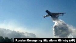 Az Orosz Rendkívüli Helyzetek Minisztériuma Be–200 kétéltű gépeivel oltották a tüzeket Jakutföldön