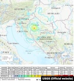 USGS mapa epicentra zemljotresa i linije prema kojoj se osjetio
