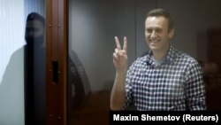 Aleksei Navalny in a Moscow courtroom on February 20