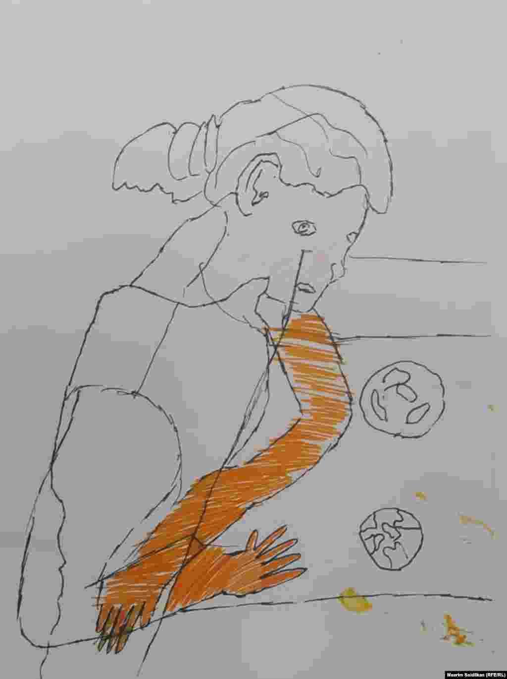 """Марлен Сулаймановдун """" Мугалимдин портрети """" аттуу эмгеги. Кара сыялуу калемсап менен тартылган сүрөт, июнь 2020"""