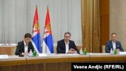 Premijerka Srbije Ana Brnabić, predsednik Aleksandar Vučić i ministar odbrane Nebojša Stefanović na sednici Saveta za nacionalnu bezbednost u Beogradu, 21. septembar