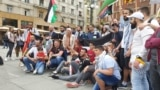 A gathering of solidarity with the Palestinian people in Belgrade