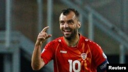 North Macedonia's Goran Pandev celebrates the team's first goal in its match with Austria on June 13 in Bucharest.