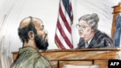 Муссауи на процессе. Рисунок судебного художника