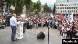 Armenia - Former President Robert Kocharian speaks at an election campaign rally held by his Hayastan alliance in Kapan, administrative center of Syunik province, June 7, 2021.