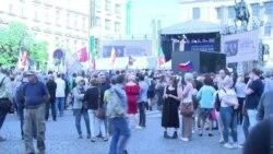 Митинг противников Евросоюза в центре Праги
