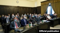 Armenia - Government and law-enforcement officials attend a cabinet meeting in Yerevan, June 24, 2021.