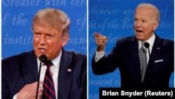 Кандидатите за президент на САЩ Доналд Тръмп и Джо Байдън по време на първия им дебат