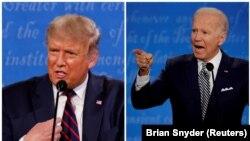 Комбинирана слика ги прикажува американскиот претседател Доналд Трамп и кандидатот за претседател на Демократската партија Џо Бајден, кои зборуваат за време на првата расправа за претседателската кампања во 2020 година во Кливленд, Охајо, САД, 29 септември 2020 година.