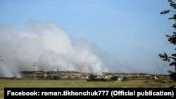 Пожар на мусорном полигоне в Евпатории