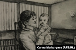 """Рисунок из раздела """"Женщины и дети"""". Фото: Карина Меркурьева"""