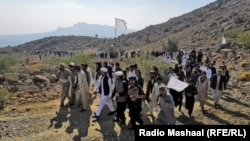Pashtun Tahafuz Movement activists protesting in North Waziristan, which borders South Waziristan, to demand a cease-fire between two tribes in a separate land dispute on November 21, 2020.