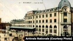 Clădirea Gării de Nord din București într-o ilustrată de la finele sec. XIX. A fost inaugurată în 1872, în prezența domnitorului Carol I. Arhivele Naționale.