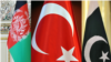 The national flags of Afghanistan, Turkey and Pakistan