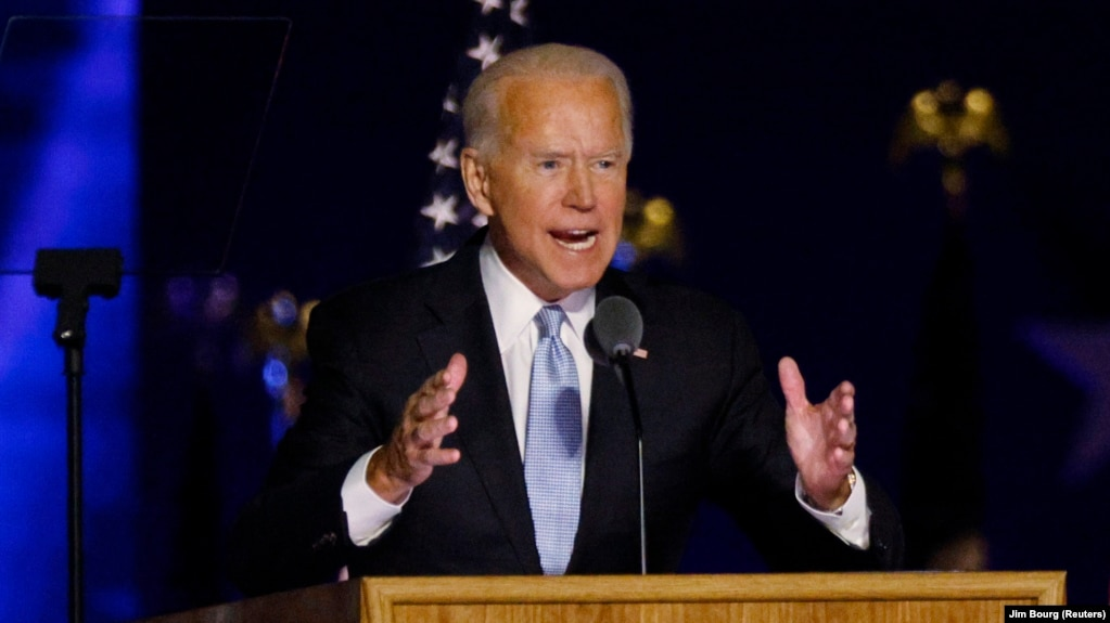 Joe Biden speaks to supporters after the media announced that he had won the U.S. presidential election over Donald Trump, in Wilmington, Delaware, on November 7.