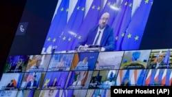 Liderii Uniunii Europene în cadrul unui summit în format videoconferință